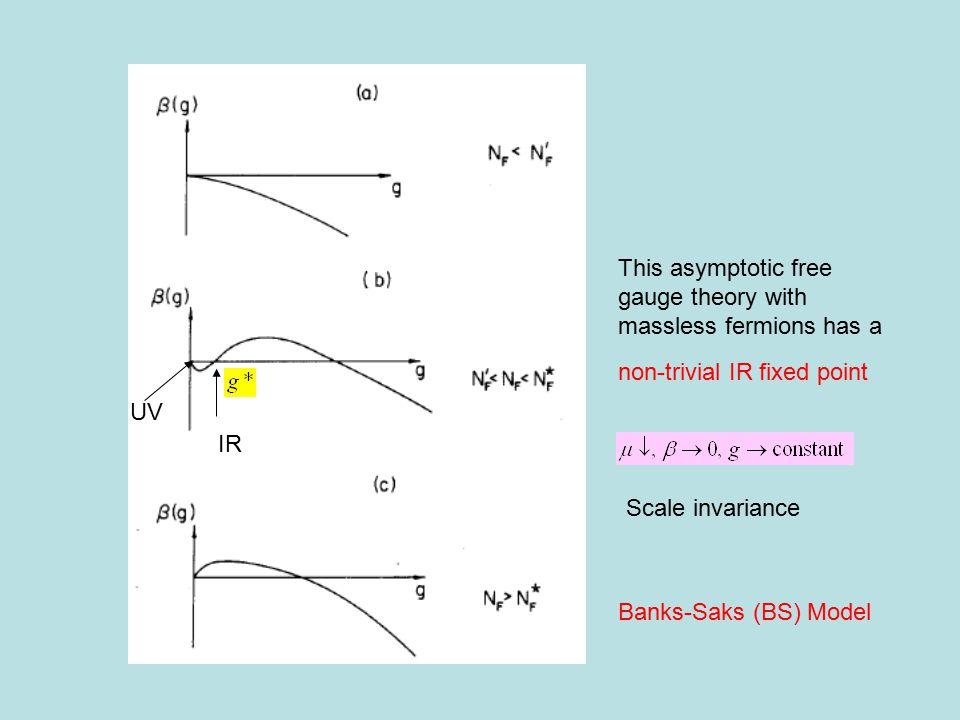 UV IR non-trivial IR fixed point This asymptotic free gauge theory with massless fermions has a Banks-Saks (BS) Model Scale invariance