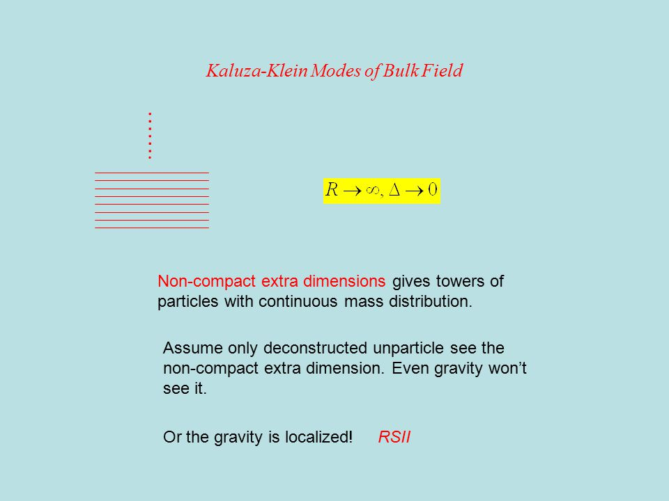 Kaluza-Klein Modes of Bulk Field ……. Non-compact extra dimensions gives towers of particles with continuous mass distribution. Assume only deconstruct