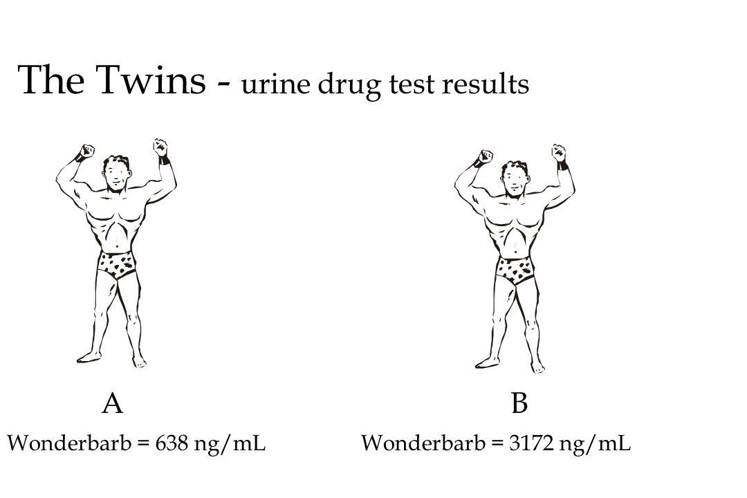 The Twins - urine drug test results AB Wonderbarb = 638 ng/mLWonderbarb = 3172 ng/mL