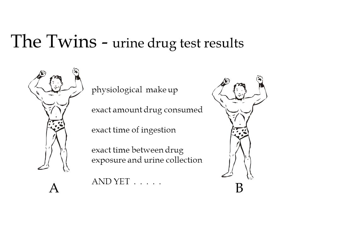 The Twins - urine drug test results AB physiological make up exact amount drug consumed exact time of ingestion exact time between drug exposure and u