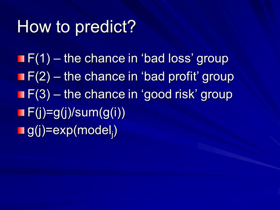 How to predict.