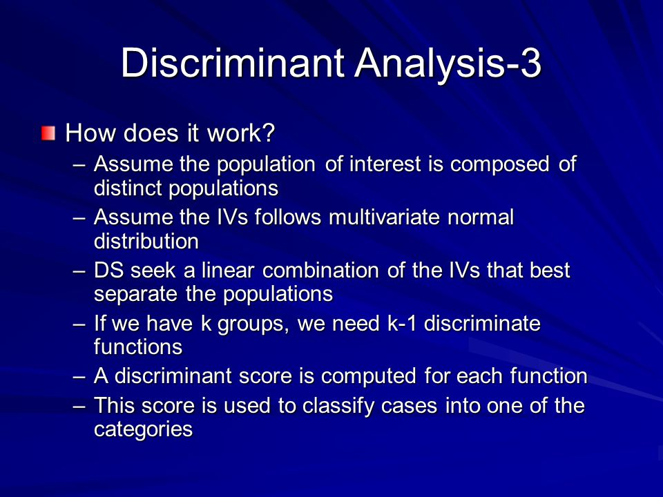 Discriminant Analysis-3 How does it work.