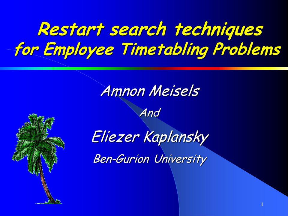 2 Employee Timetabling Problems.