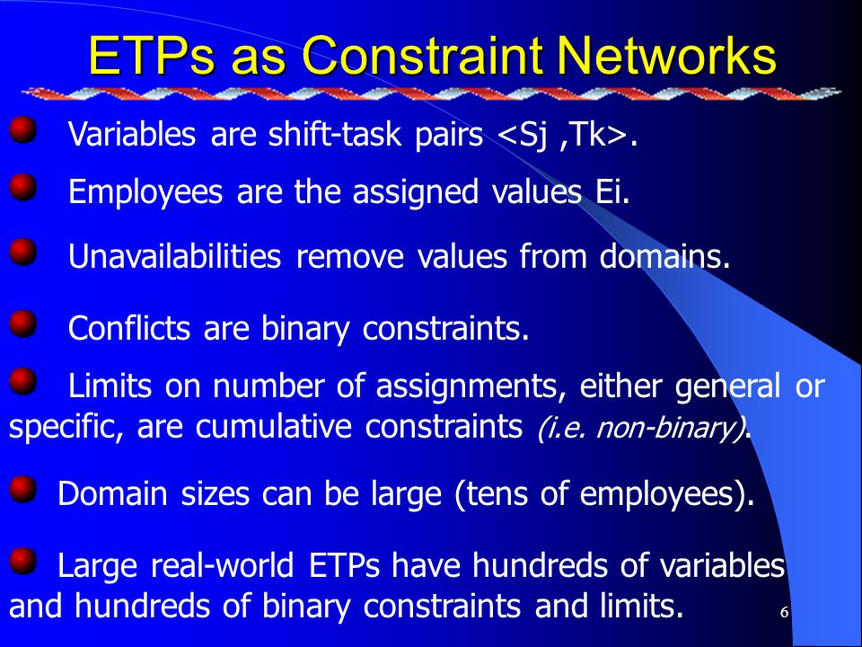 17 The test problem We randomly generate test problems by adding or removing personal constrains.
