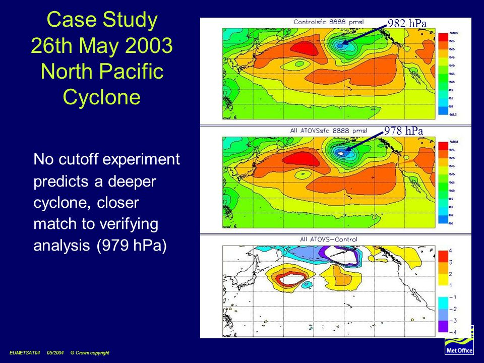 EUMETSAT04 05/2004 © Crown copyright Case Study 26th May 2003 North Pacific Cyclone No cutoff experiment predicts a deeper cyclone, closer match to ve