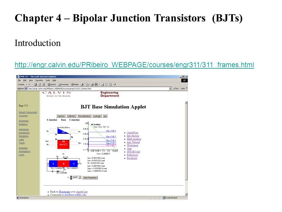 Chapter 4 – Bipolar Junction Transistors (BJTs) Introduction http://engr.calvin.edu/PRibeiro_WEBPAGE/courses/engr311/311_frames.html