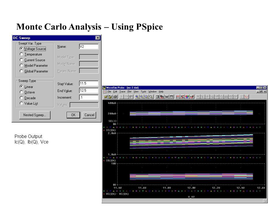 Probe Output Ic(Q), Ib(Q), Vce Monte Carlo Analysis – Using PSpice