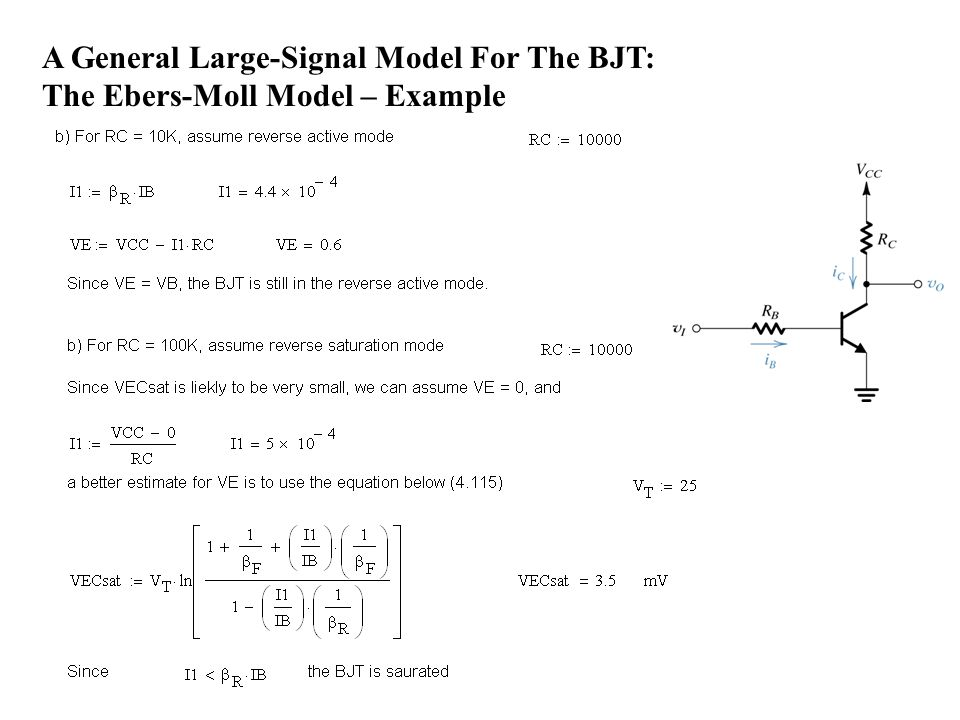 A General Large-Signal Model For The BJT: The Ebers-Moll Model – Example