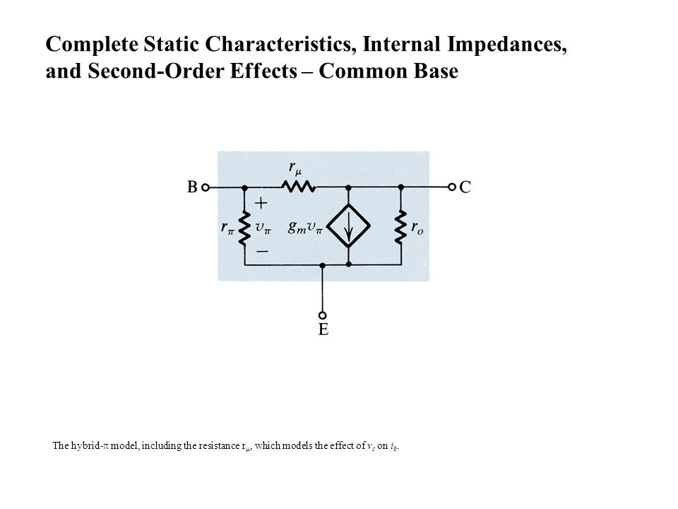 The hybrid-  model, including the resistance r , which models the effect of v c on i b. Complete Static Characteristics, Internal Impedances, and Se