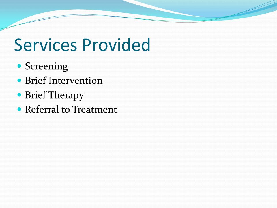 Services Provided Screening Brief Intervention Brief Therapy Referral to Treatment