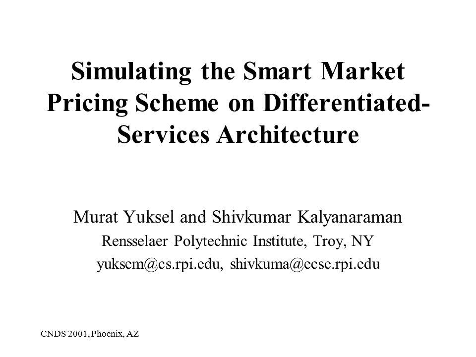 CNDS 2001, Phoenix, AZ Simulating the Smart Market Pricing Scheme on Differentiated- Services Architecture Murat Yuksel and Shivkumar Kalyanaraman Rensselaer Polytechnic Institute, Troy, NY yuksem@cs.rpi.edu, shivkuma@ecse.rpi.edu