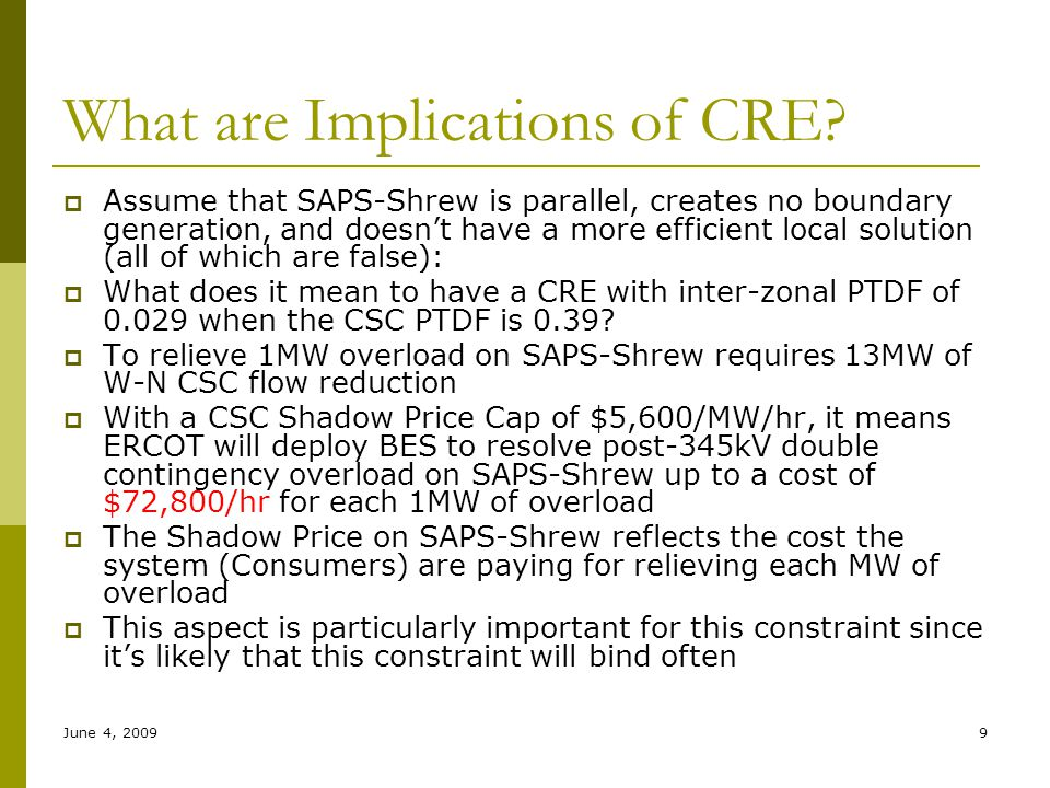 June 4, 20099 What are Implications of CRE?  Assume that SAPS-Shrew is parallel, creates no boundary generation, and doesn't have a more efficient lo