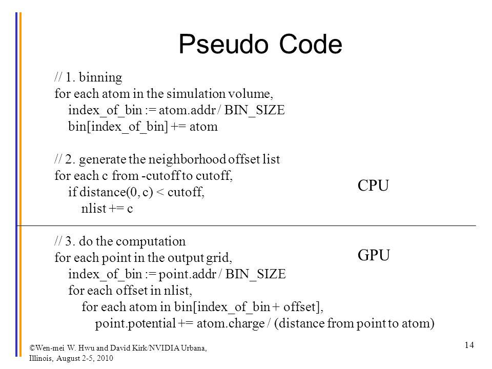 Pseudo Code // 1. binning for each atom in the simulation volume, index_of_bin := atom.addr / BIN_SIZE bin[index_of_bin] += atom // 2. generate the ne