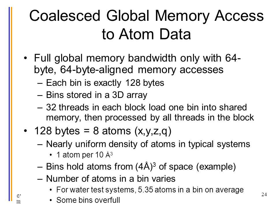 ©Wen-mei W. Hwu and David Kirk/NVIDIA Urbana, Illinois, August 2-5, 2010 Coalesced Global Memory Access to Atom Data Full global memory bandwidth only