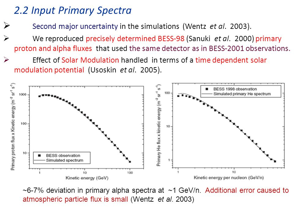 2.2 Input Primary Spectra  Second major uncertainty in the simulations (Wentz et al.