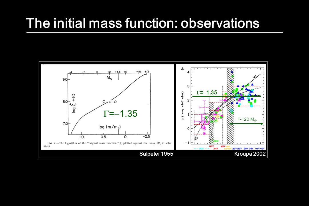 The initial mass function: observations Salpeter 1955Kroupa 2002  =  1.35 1-120 M 