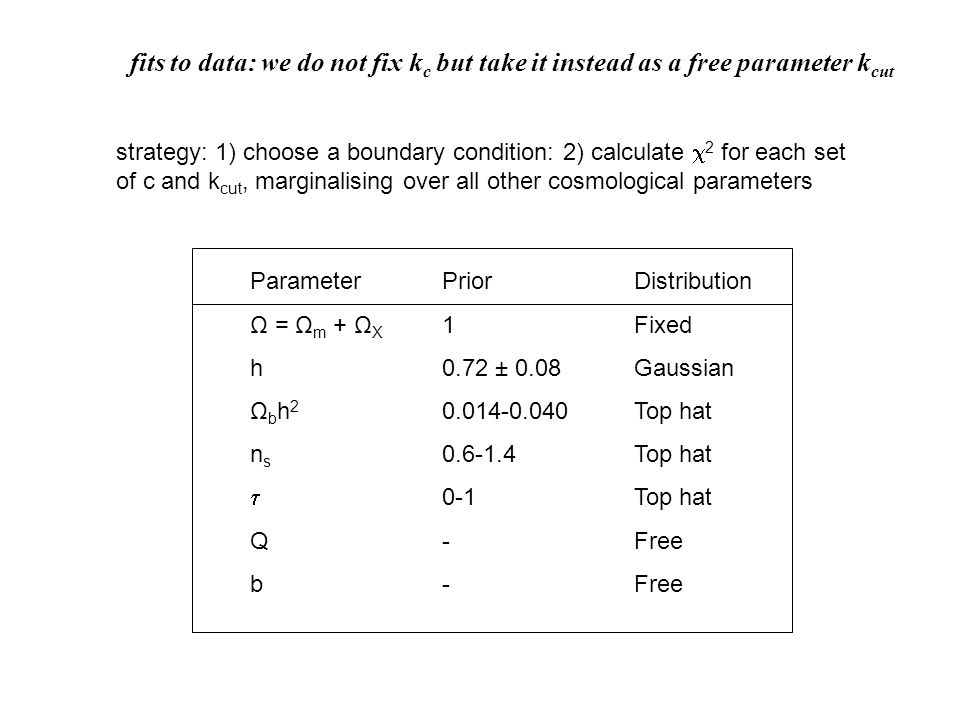 Parameter Prior Distribution Ω = Ω m + Ω X 1 Fixed h 0.72 ± 0.08 Gaussian Ω b h 2 0.014-0.040 Top hat n s 0.6-1.4 Top hat  0-1 Top hat Q - Free b - Free strategy: 1) choose a boundary condition: 2) calculate  2 for each set of c and k cut, marginalising over all other cosmological parameters fits to data: we do not fix k c but take it instead as a free parameter k cut