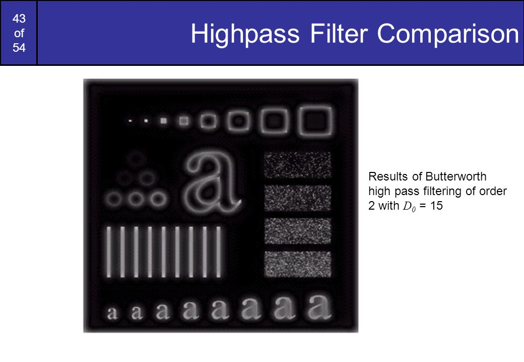 43 of 54 Highpass Filter Comparison Results of Butterworth high pass filtering of order 2 with D 0 = 15