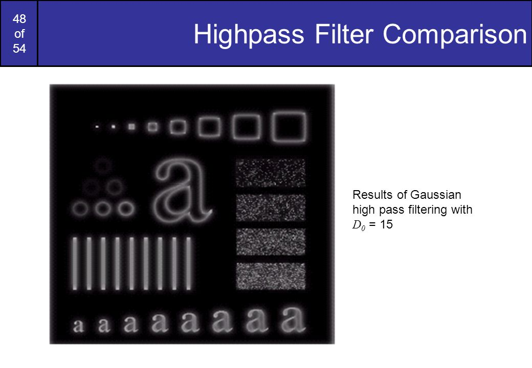 48 of 54 Highpass Filter Comparison Results of Gaussian high pass filtering with D 0 = 15