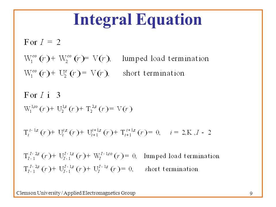 30 Clemson University / Applied Electromagnetics Group Conclusions Fields in cascaded cavities can be determined Frequency domain data is often difficult to interpret, even for relatively simple structures Time domain analysis is easier to interpret physically and helps in understanding frequency domain data