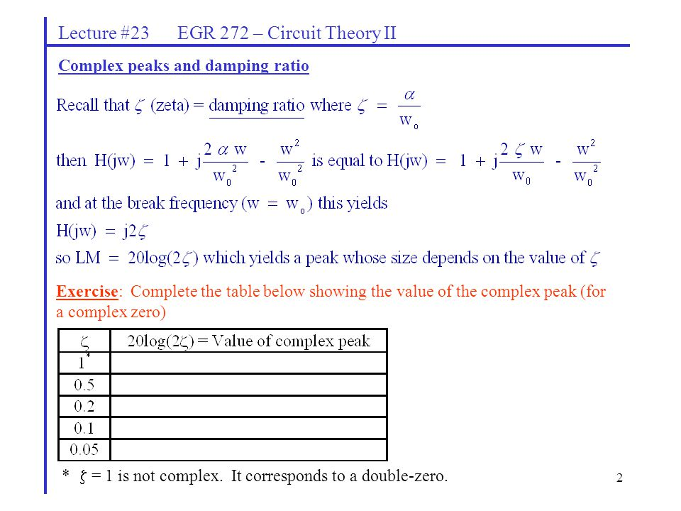 2 Lecture #23 EGR 272 – Circuit Theory II Complex peaks and damping ratio Exercise: Complete the table below showing the value of the complex peak (for a complex zero) *  = 1 is not complex.