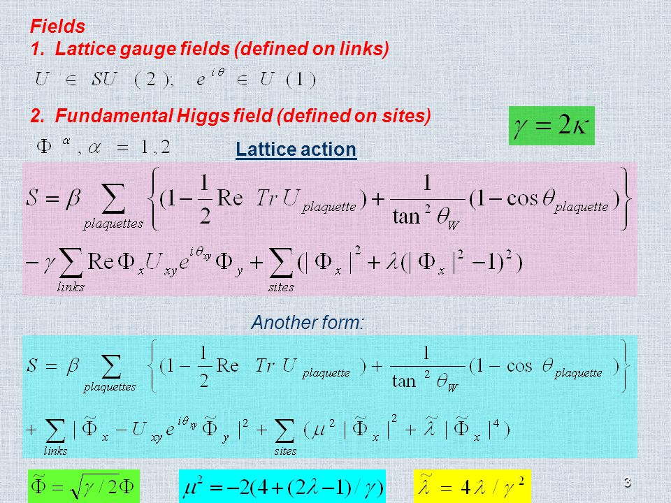 3 Fields 1.Lattice gauge fields (defined on links) 2.Fundamental Higgs field (defined on sites) Lattice action Another form:
