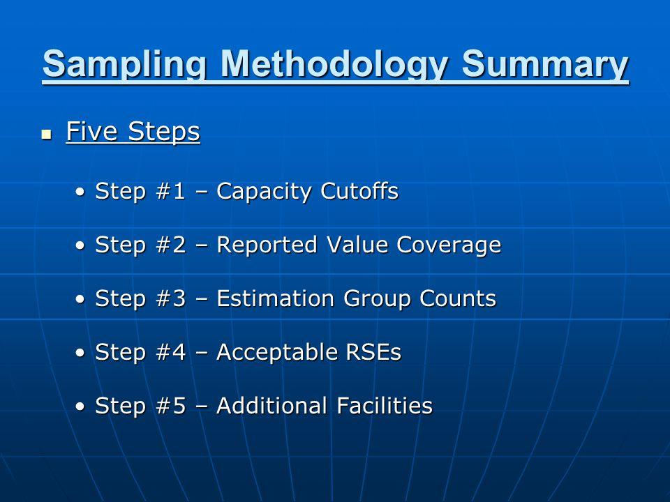 Sampling Methodology Summary Five Steps Five Steps Step #1 – Capacity CutoffsStep #1 – Capacity Cutoffs Step #2 – Reported Value CoverageStep #2 – Reported Value Coverage Step #3 – Estimation Group CountsStep #3 – Estimation Group Counts Step #4 – Acceptable RSEsStep #4 – Acceptable RSEs Step #5 – Additional FacilitiesStep #5 – Additional Facilities