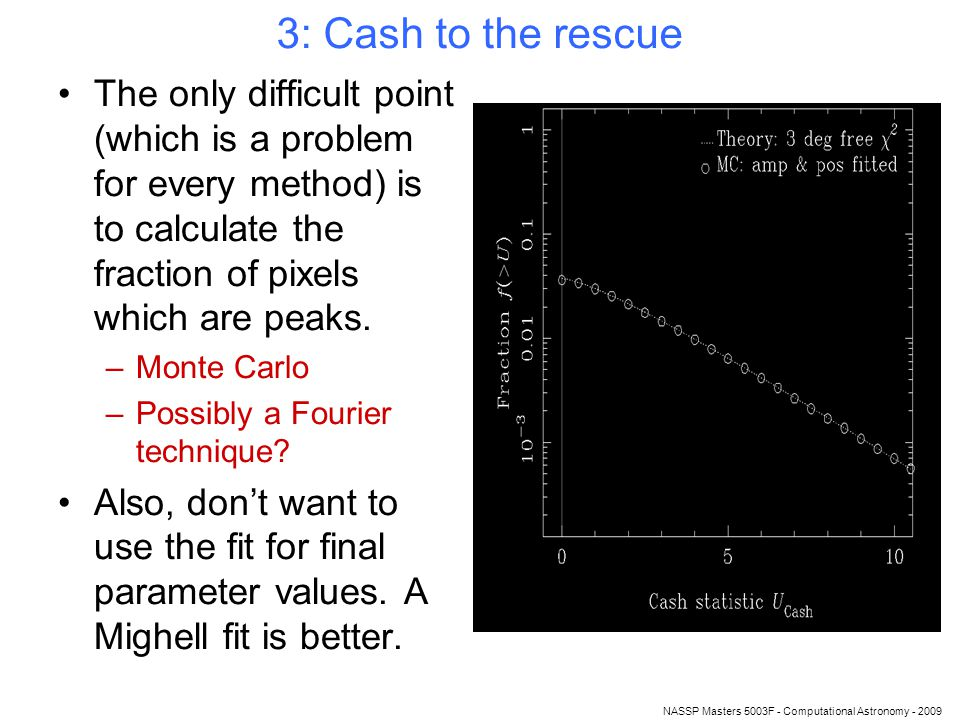 NASSP Masters 5003F - Computational Astronomy - 2009 3: Cash to the rescue The only difficult point (which is a problem for every method) is to calculate the fraction of pixels which are peaks.