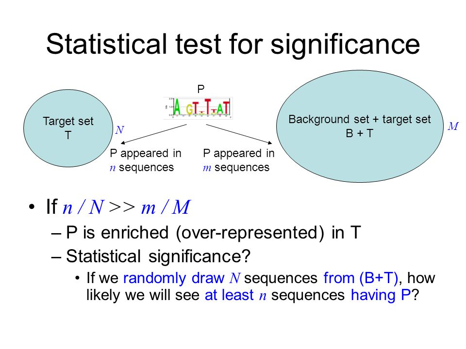 Statistical test for significance If n / N >> m / M –P is enriched (over-represented) in T –Statistical significance.