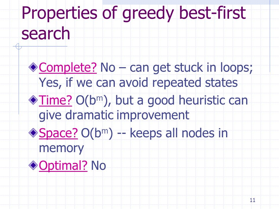 11 Properties of greedy best-first search Complete.
