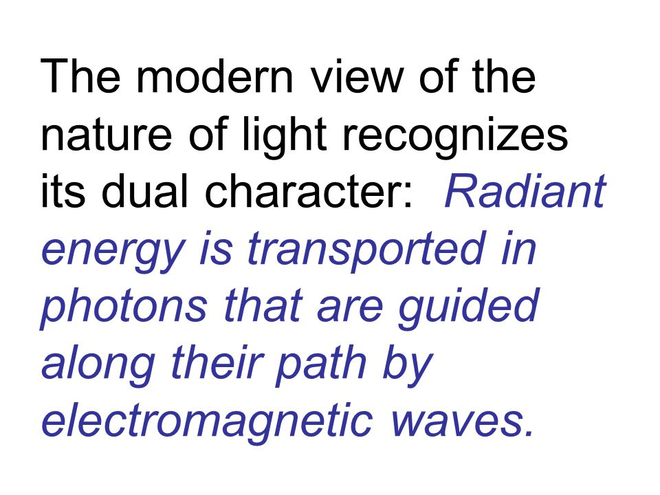 The modern view of the nature of light recognizes its dual character: Radiant energy is transported in photons that are guided along their path by electromagnetic waves.