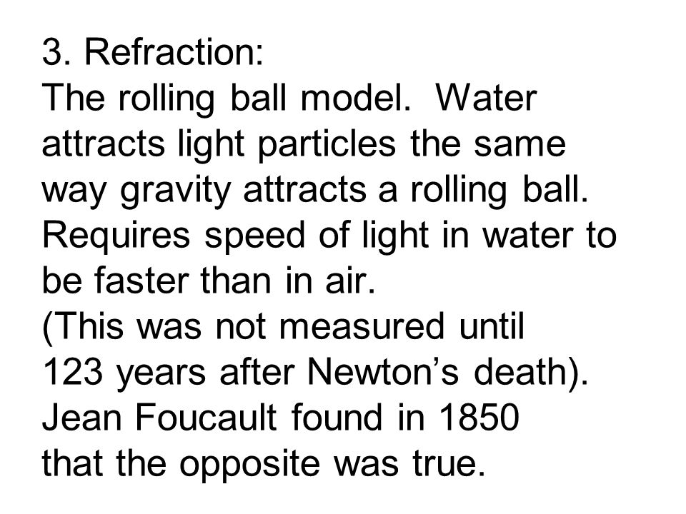 3. Refraction: The rolling ball model.