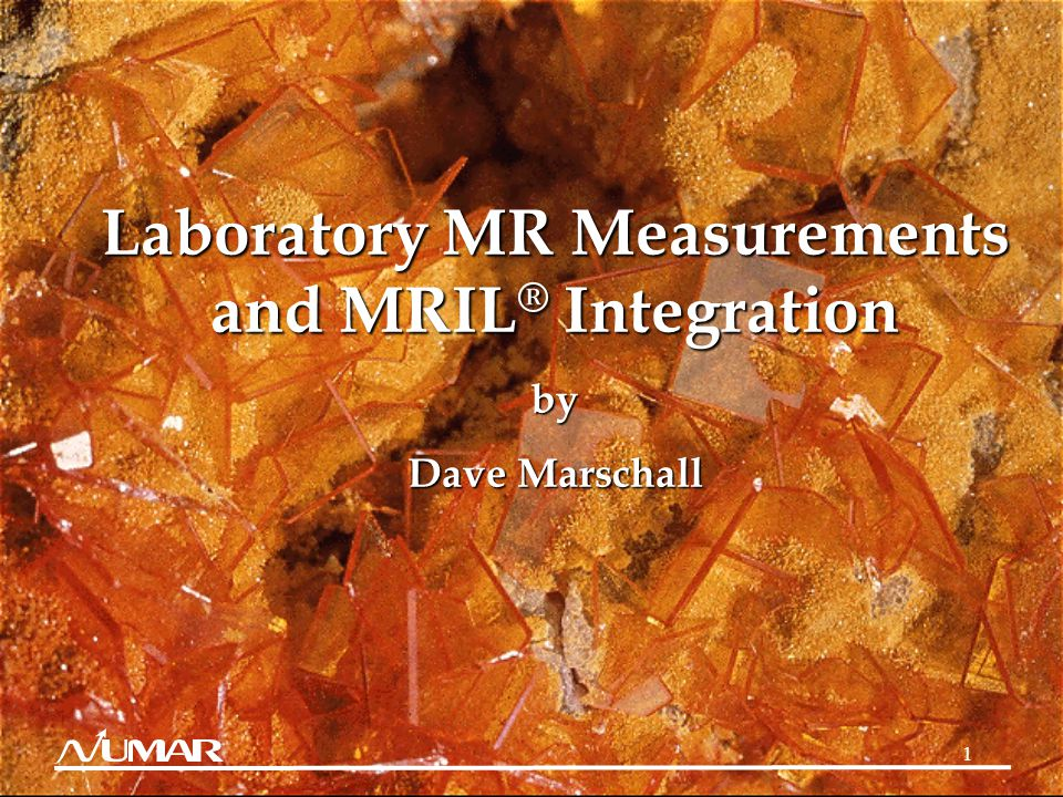 1 Laboratory MR Measurements and MRIL ® Integration by Dave Marschall