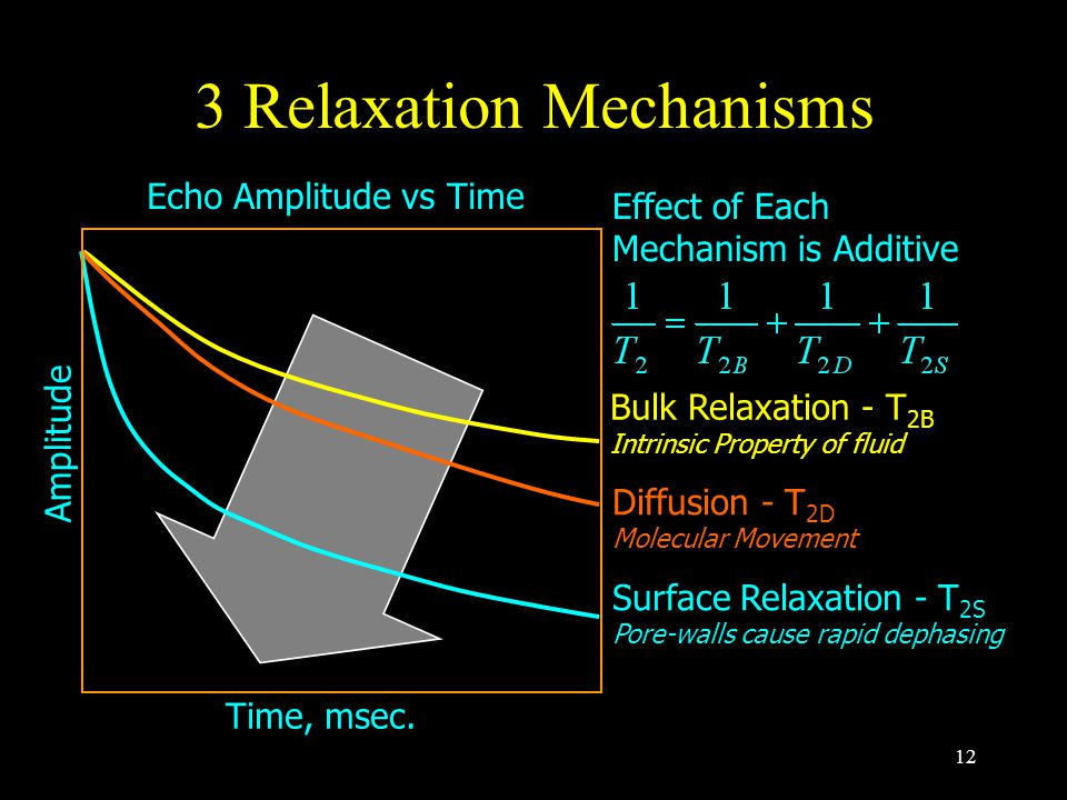 12 3 Relaxation Mechanisms Bulk Relaxation - T 2B Intrinsic Property of fluid Diffusion - T 2D Molecular Movement Surface Relaxation - T 2S Pore-walls cause rapid dephasing Effect of Each Mechanism is Additive Time, msec.