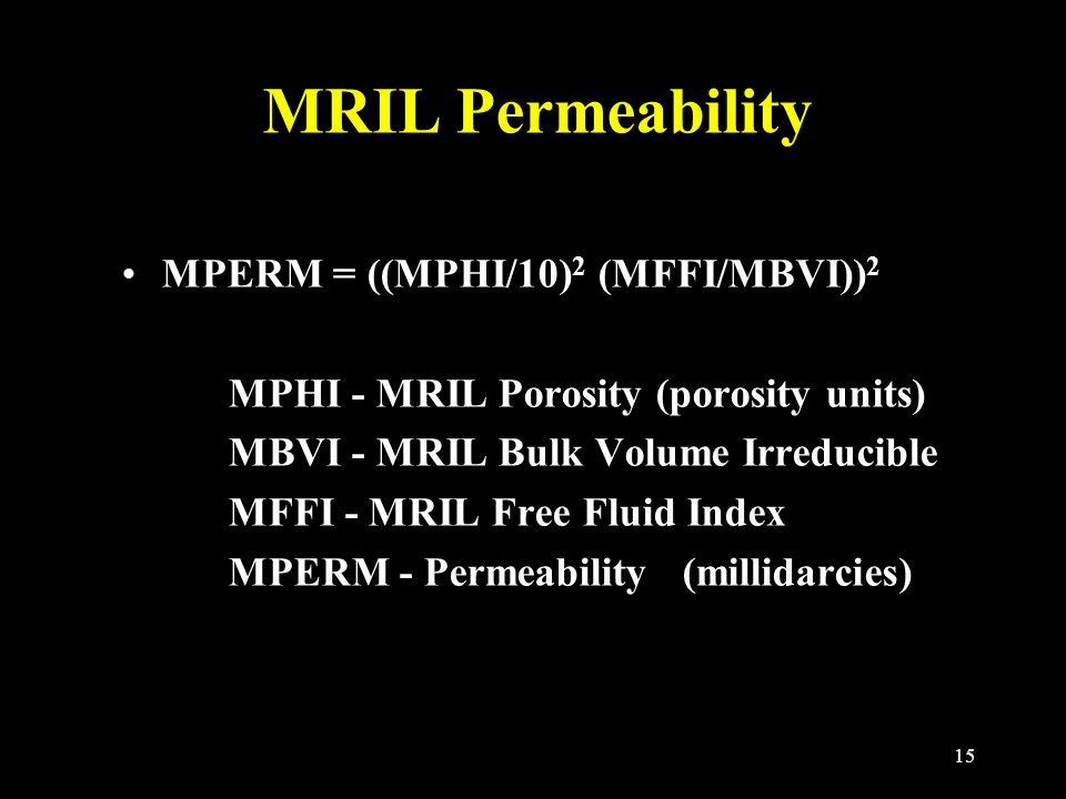 15 MRIL Permeability MPERM = ((MPHI/10) 2 (MFFI/MBVI)) 2 MPHI - MRIL Porosity (porosity units) MBVI - MRIL Bulk Volume Irreducible MFFI - MRIL Free Fluid Index MPERM - Permeability (millidarcies)