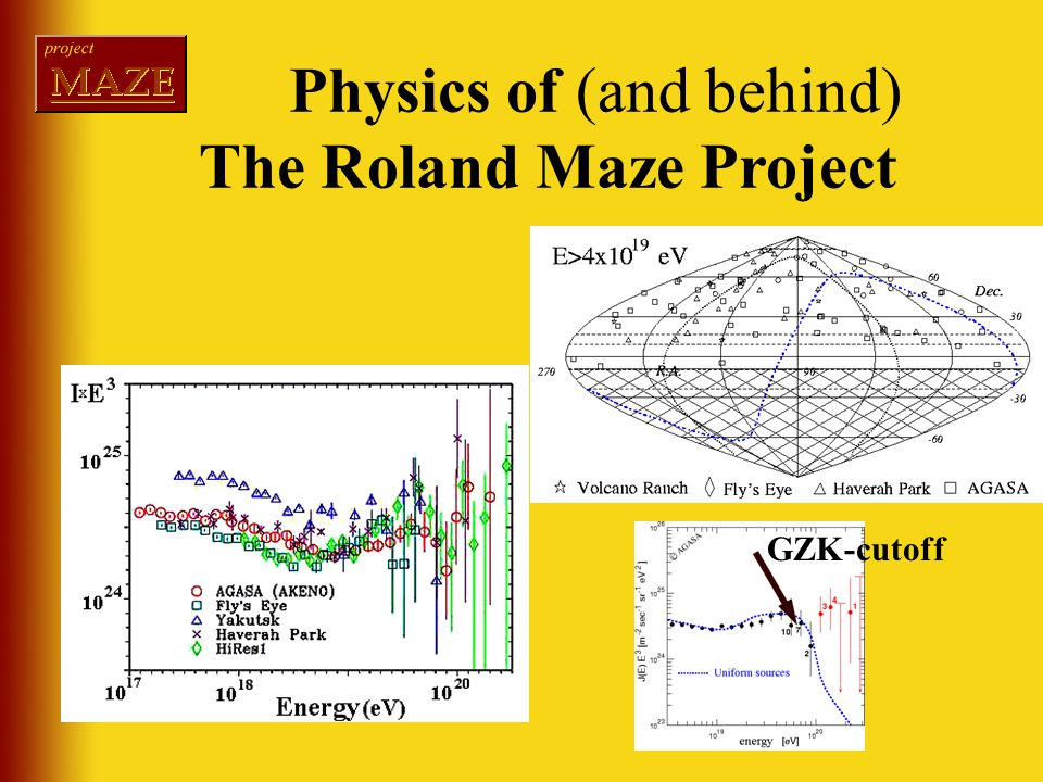 GZK-cutoff Physics of (and behind) The Roland Maze Project