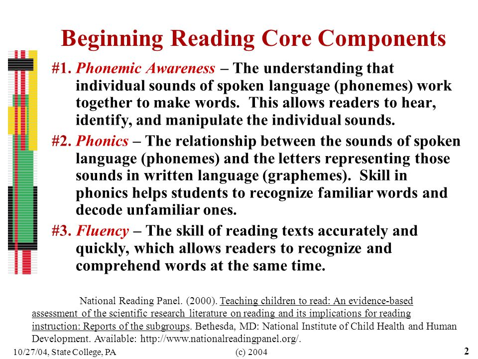 10/27/04, State College, PA(c) 2004 2 Beginning Reading Core Components #1.Phonemic Awareness – The understanding that individual sounds of spoken lan