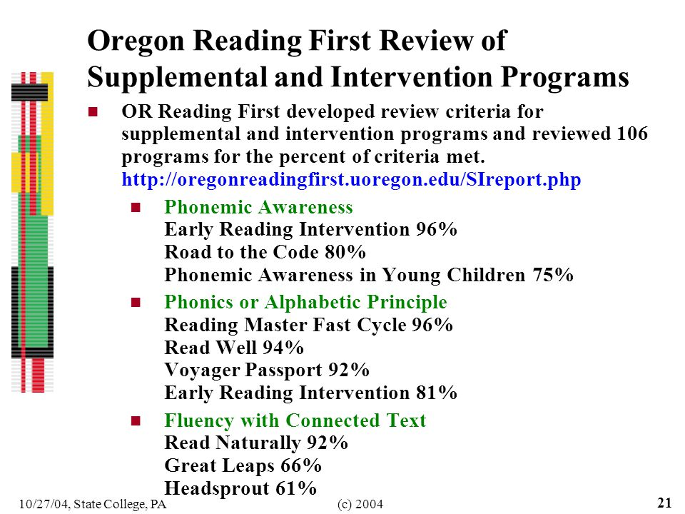 10/27/04, State College, PA(c) 2004 21 Oregon Reading First Review of Supplemental and Intervention Programs OR Reading First developed review criteri