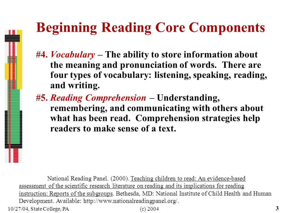 10/27/04, State College, PA(c) 2004 3 Beginning Reading Core Components #4.Vocabulary – The ability to store information about the meaning and pronunc