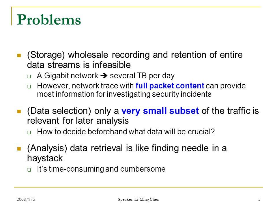 2008/9/5 Speaker: Li-Ming Chen 16 Recording: Retention Time (how long we store packet data?) (original 3~6 TB /day) Avg.