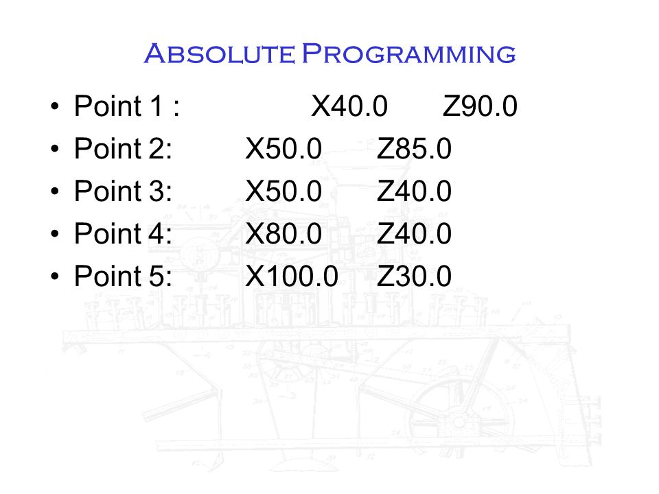 Absolute Programming Point 1 :X40.0Z90.0 Point 2:X50.0Z85.0 Point 3:X50.0Z40.0 Point 4:X80.0Z40.0 Point 5:X100.0Z30.0