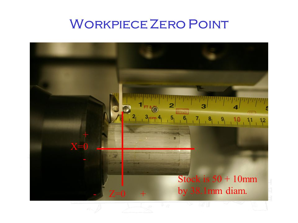 - Z=0 + + X=0 - Stock is 50 + 10mm by 38.1mm diam.