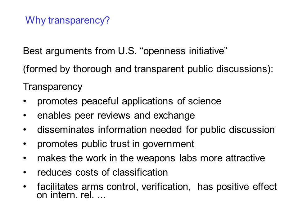 Why transparency. Best arguments from U.S.