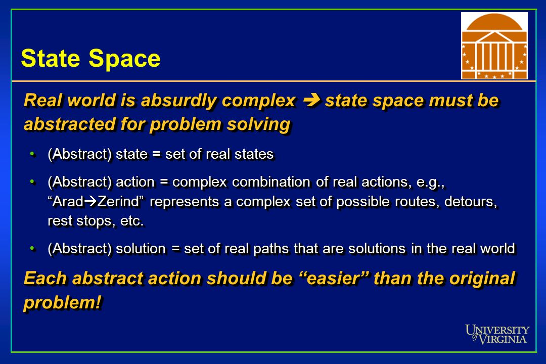 State Space Real world is absurdly complex  state space must be abstracted for problem solving (Abstract) state = set of real states(Abstract) state = set of real states (Abstract) action = complex combination of real actions, e.g., Arad  Zerind represents a complex set of possible routes, detours, rest stops, etc.(Abstract) action = complex combination of real actions, e.g., Arad  Zerind represents a complex set of possible routes, detours, rest stops, etc.