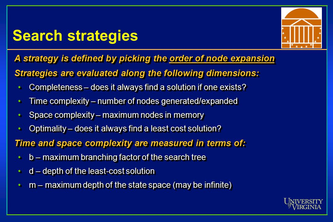 Search strategies A strategy is defined by picking the order of node expansion Strategies are evaluated along the following dimensions: Completeness – does it always find a solution if one exists Completeness – does it always find a solution if one exists.