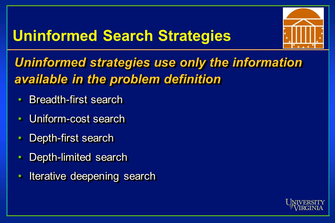 Uninformed Search Strategies Uninformed strategies use only the information available in the problem definition Breadth-first searchBreadth-first search Uniform-cost searchUniform-cost search Depth-first searchDepth-first search Depth-limited searchDepth-limited search Iterative deepening searchIterative deepening search Uninformed strategies use only the information available in the problem definition Breadth-first searchBreadth-first search Uniform-cost searchUniform-cost search Depth-first searchDepth-first search Depth-limited searchDepth-limited search Iterative deepening searchIterative deepening search