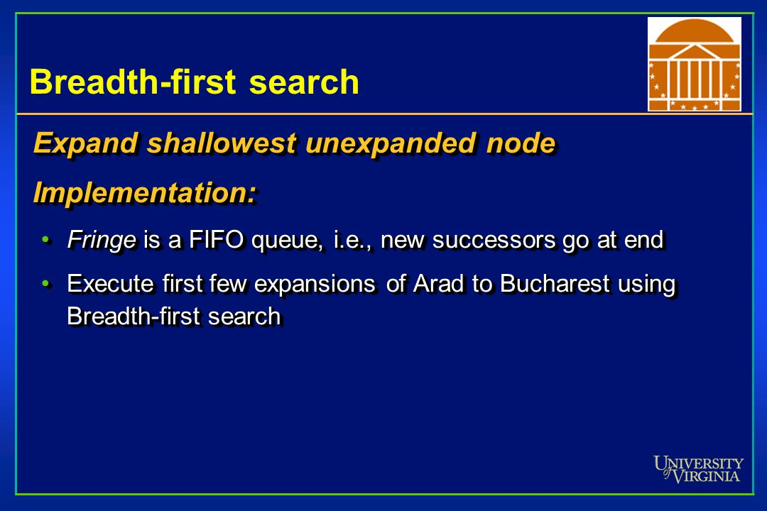 Breadth-first search Expand shallowest unexpanded node Implementation: Fringe is a FIFO queue, i.e., new successors go at endFringe is a FIFO queue, i.e., new successors go at end Execute first few expansions of Arad to Bucharest using Breadth-first searchExecute first few expansions of Arad to Bucharest using Breadth-first search Expand shallowest unexpanded node Implementation: Fringe is a FIFO queue, i.e., new successors go at endFringe is a FIFO queue, i.e., new successors go at end Execute first few expansions of Arad to Bucharest using Breadth-first searchExecute first few expansions of Arad to Bucharest using Breadth-first search