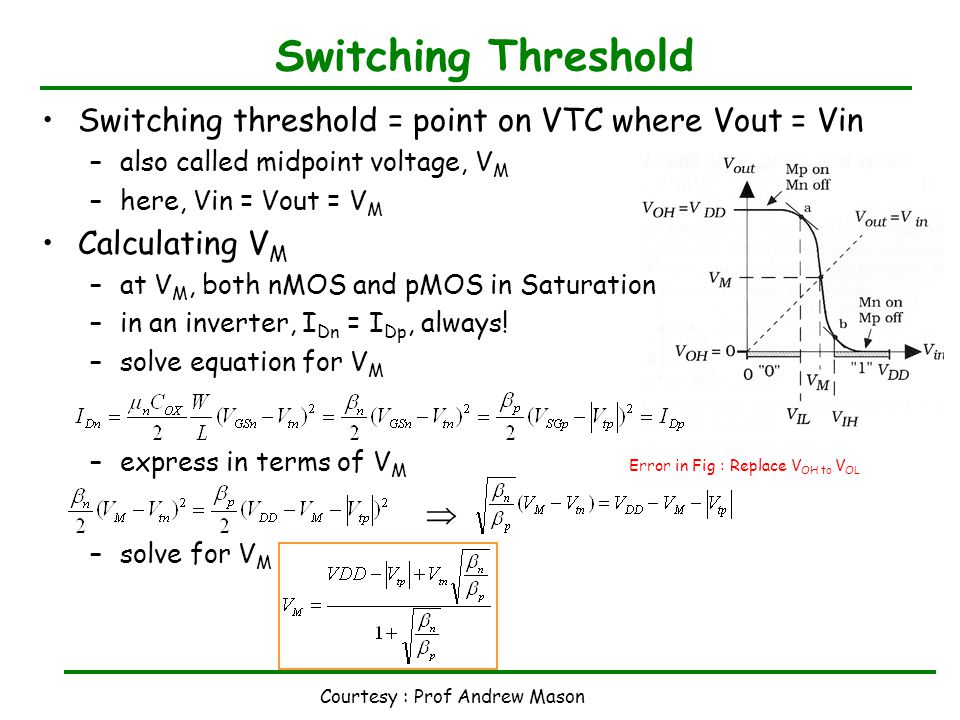 Courtesy : Prof Andrew Mason Switching Threshold Switching threshold = point on VTC where Vout = Vin –also called midpoint voltage, V M –here, Vin = Vout = V M Calculating V M –at V M, both nMOS and pMOS in Saturation –in an inverter, I Dn = I Dp, always.