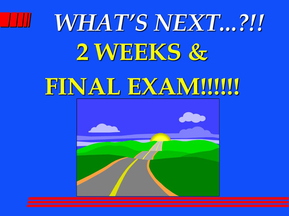 WHAT'S NEXT... !! 2 WEEKS & FINAL EXAM!!!!!!