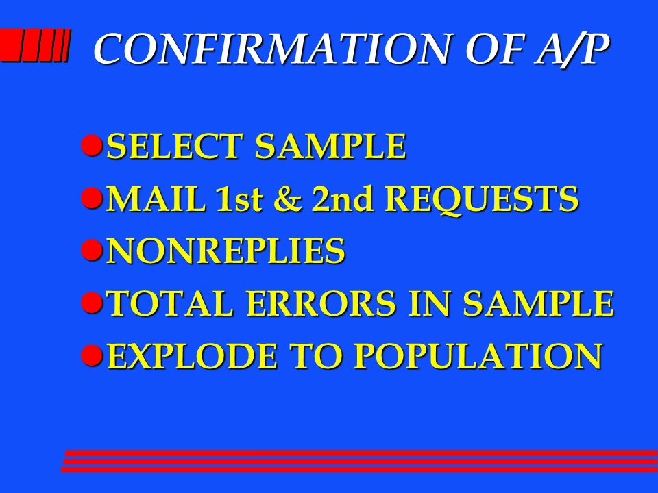 CONFIRMATION OF A/P l SELECT SAMPLE l MAIL 1st & 2nd REQUESTS l NONREPLIES l TOTAL ERRORS IN SAMPLE l EXPLODE TO POPULATION